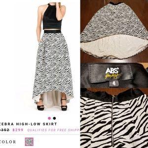 ABS Allen Schwartz Zebra High Low Skirt F122:9:318